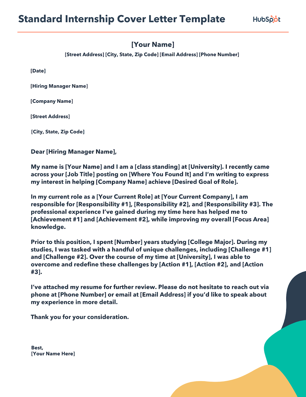 standard internship cover letter template