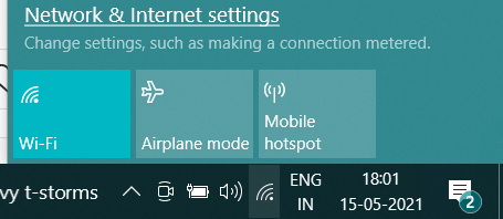 WiFi Icon Missing in windows