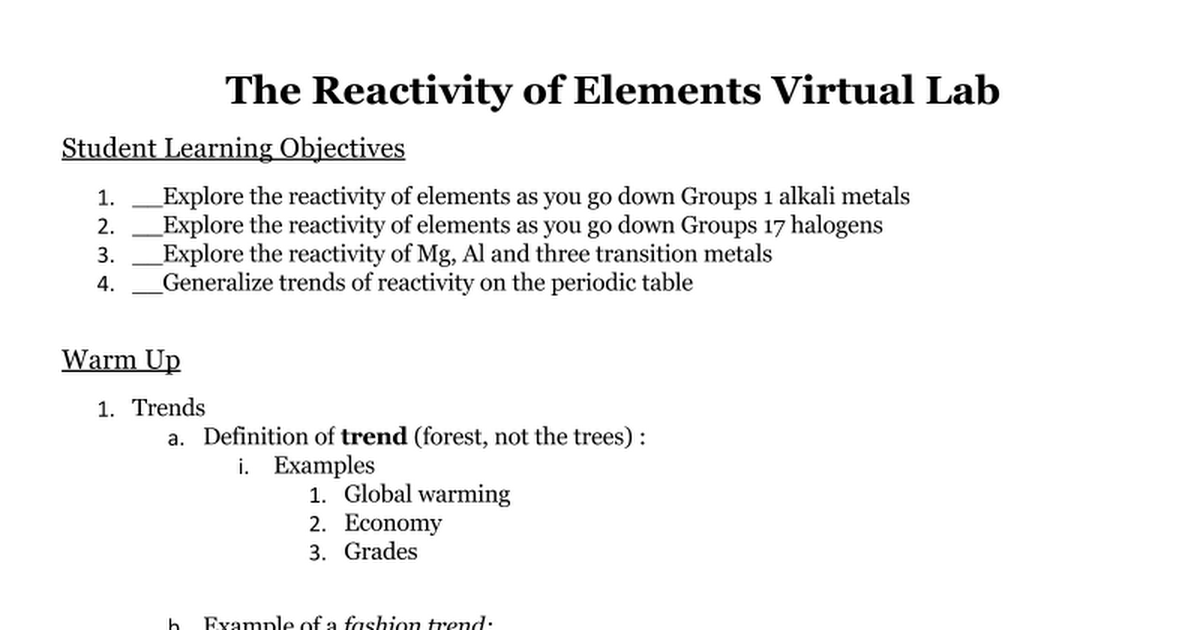 the reactivity of elements virtual lab google docs - Periodic Table Of Elements Virtual Lab
