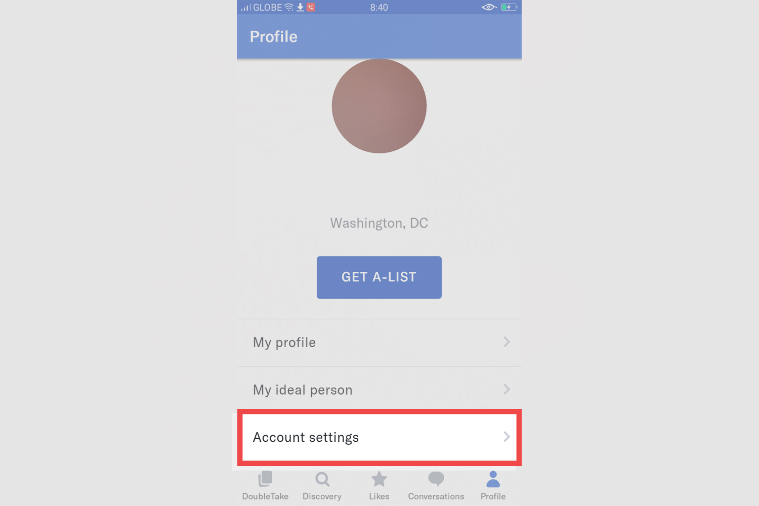 Okcupid- delete account from android. Step 3: account settings