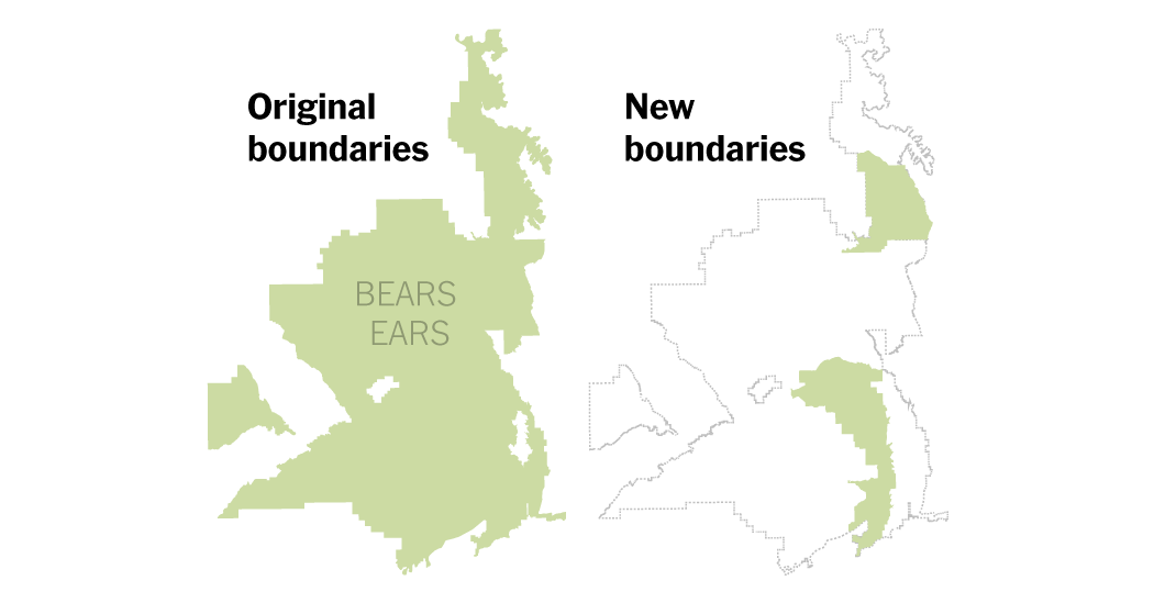Map comparing the original and new boundaries of Bears Ears