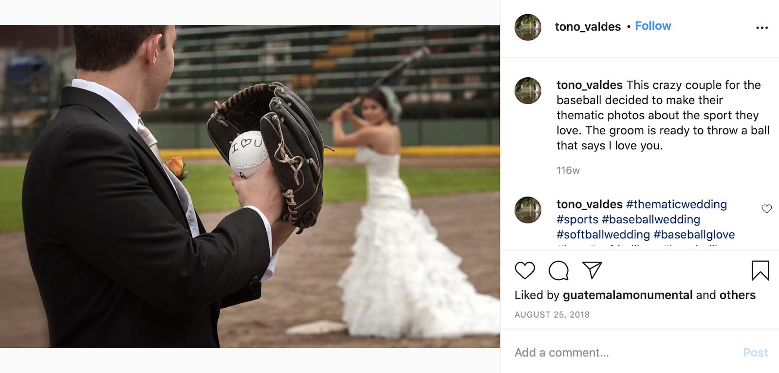 baseball couple wedding photo