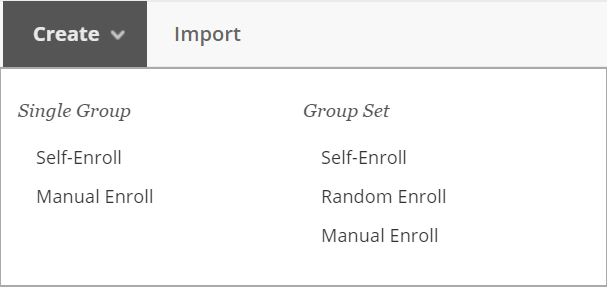 Screenshot of open Create Groups menu.