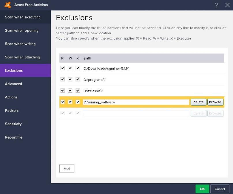 Avast Free Antivirus screen shot of exclusions page.