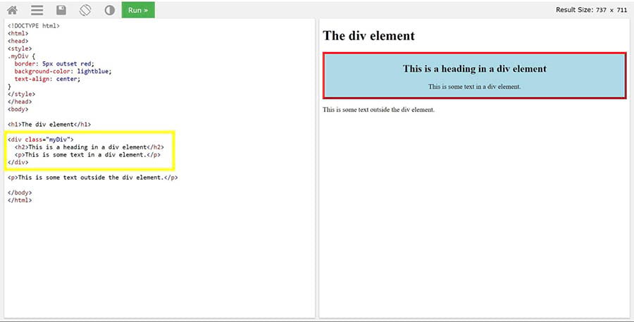 Correctly formatted <div> tags on a page.
