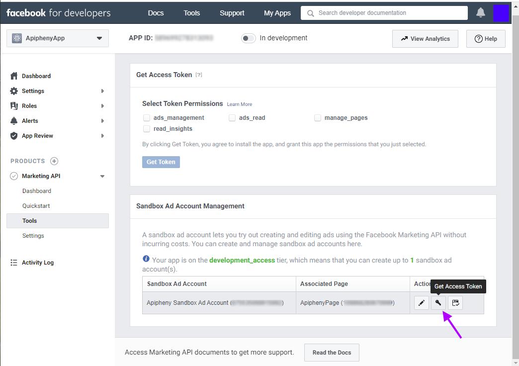 Facebook sandbox account management
