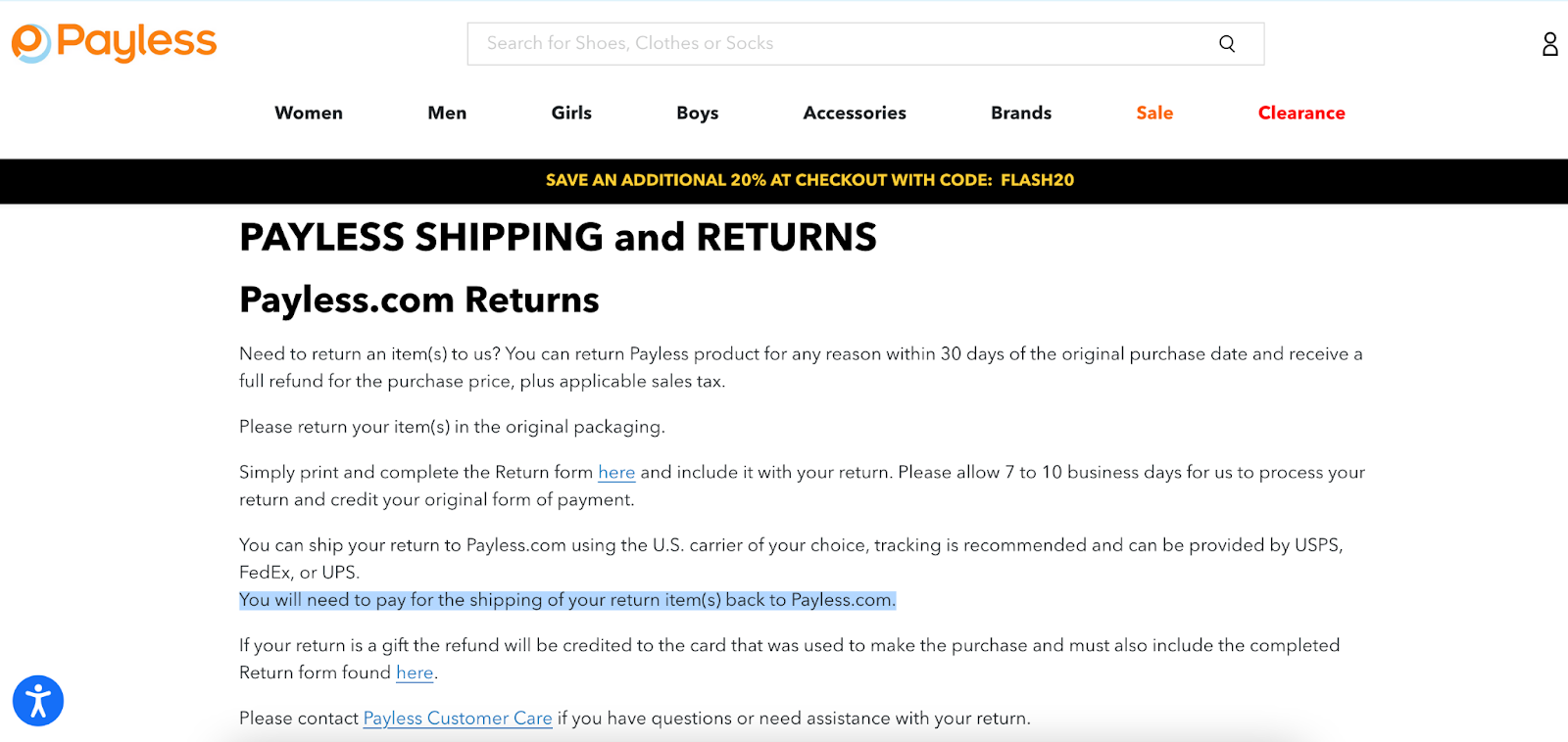 Payless requires you to Paymore with return fees
