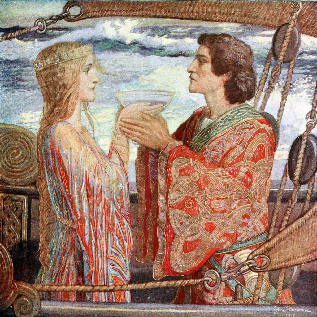 Ireland's mythical love story sees Tristan and Isolde drinking love potion. John Duncan, Tristan and Isolde, 1912, City Art Center, Edinburgh, Scotland.