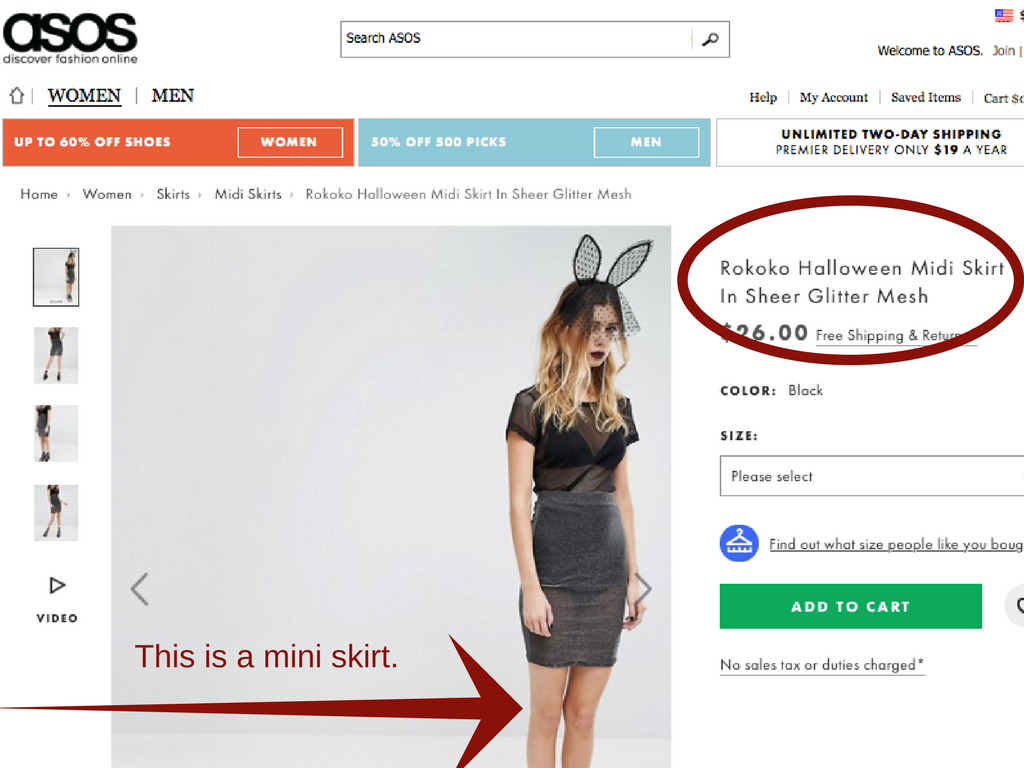 Example of inaccurate, wrong information on a web store