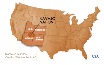 Location of Navajo Nation, Arizona