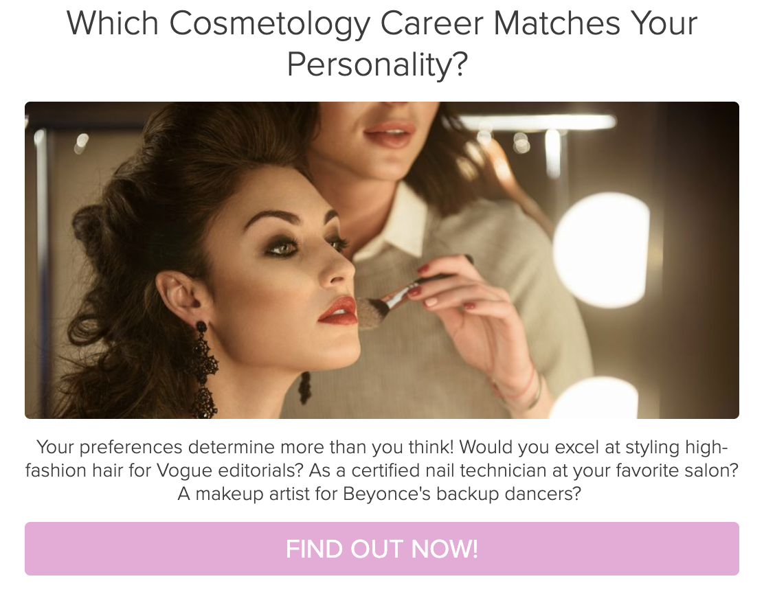 example from college quizzes - which cosmetology career matches your personality quiz cover