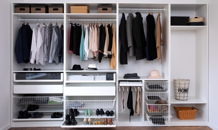 Closet shelving will help make use of wasted space.