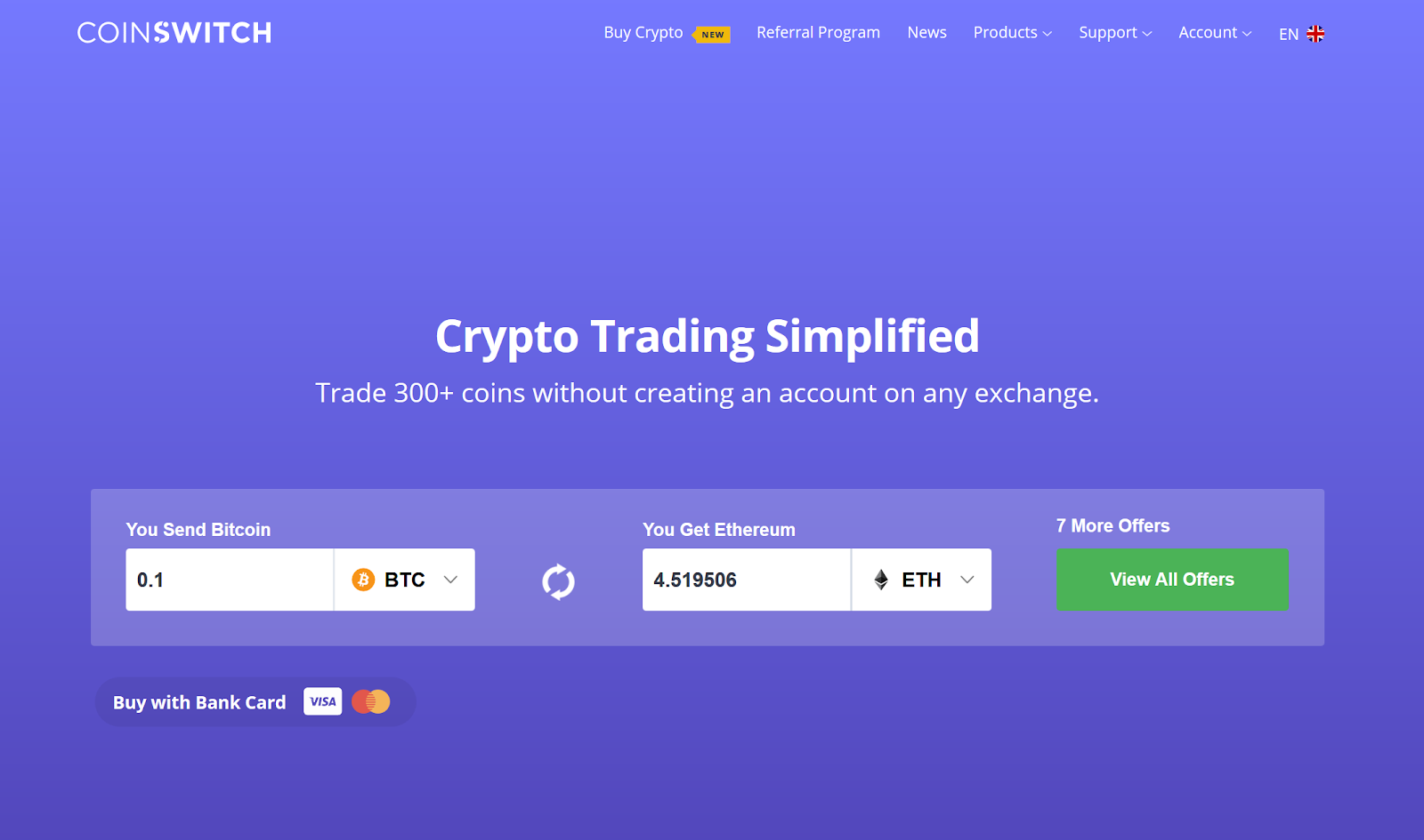 Image of CoinSwitch's form of cryptocurrency trading. Source CoinSwitch.