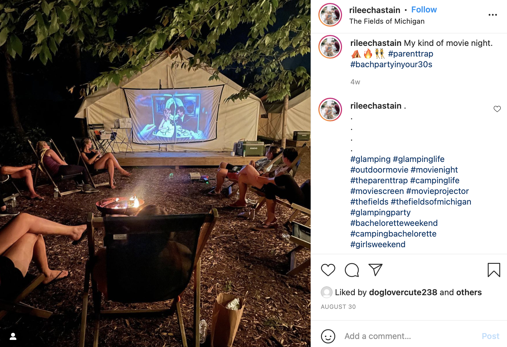 bonfire night with the bachelorette party