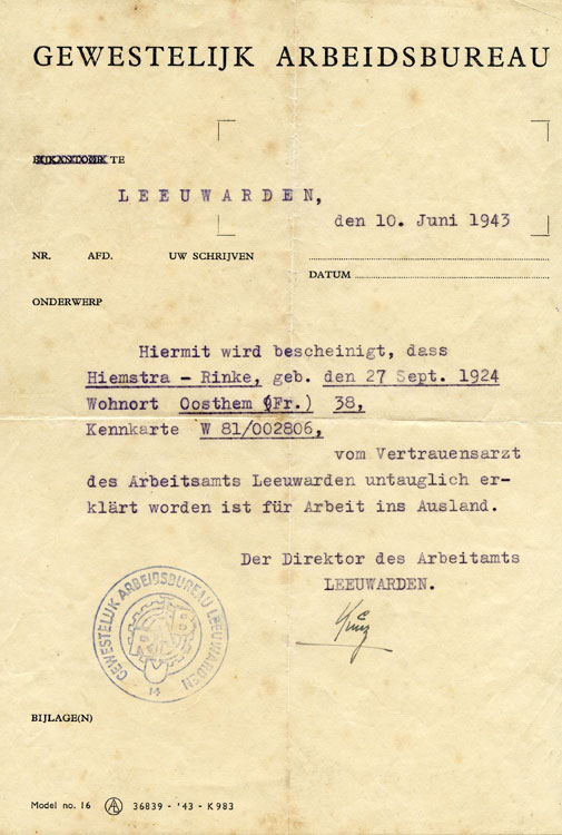 Dutch document stated Ray was healthy enough to be assigned to work in Poland for German war effort