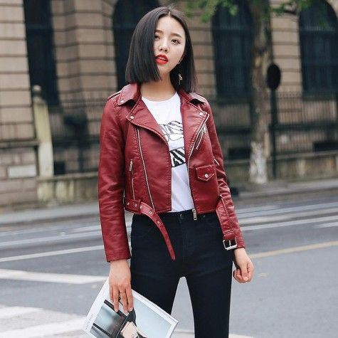 woman in a leather cropped leather jacket