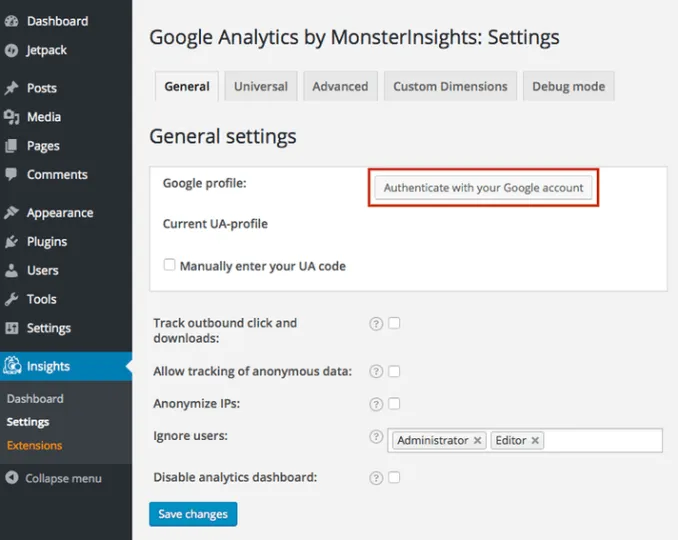 authenticate your google account before you start tracking downloaded files on monsterInsights plugin.