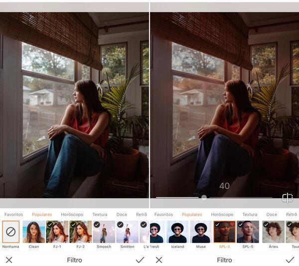 Foto de uma mulher sentada e olhando pela janela, sendo editada pelo AirBrush