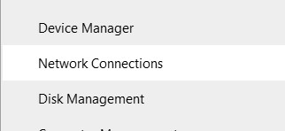 Network Connections option in the Quick Link menu
