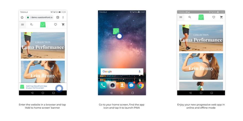 Добавление прогрессивного веб-приложения на экран Ome с помощью Vue Storefront