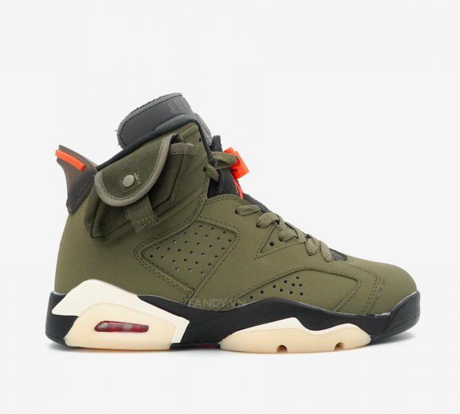 "Giày Travis Scott x Nike Air Jordan 6 ""Medium Olive"""