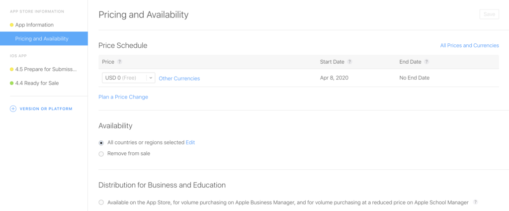how to get an ios app on the app store select pricing
