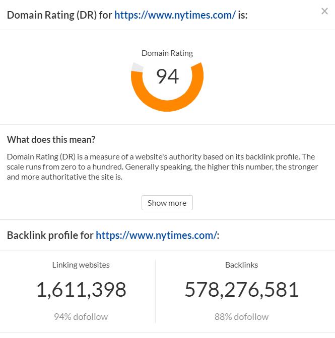 Ahrefs domain rating check
