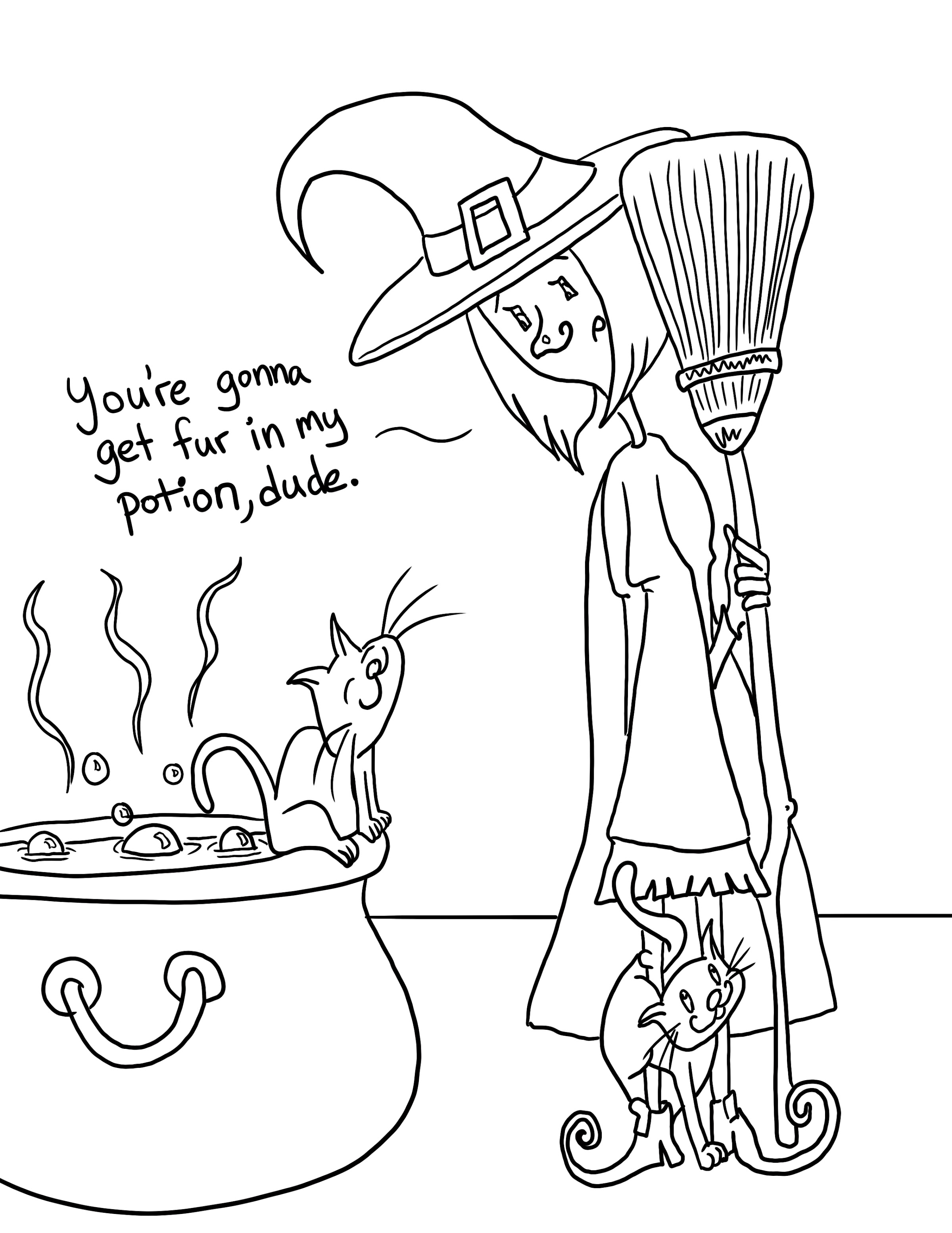 Witch and cats coloring page