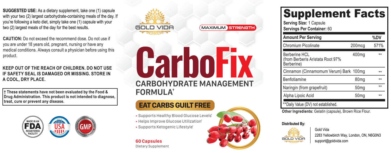 Carbo fix supplement facts and Ingredients