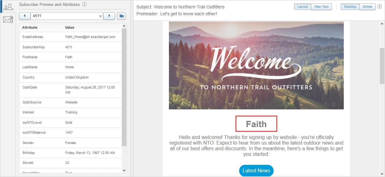 Capture d'écran montrant les informations de Faith Hines dans un tableau à deux colonnes à gauche et un aperçu de l'e-mail qu'elle recevra à droite. La chaîne de personnalisation a été remplacée par son prénom.