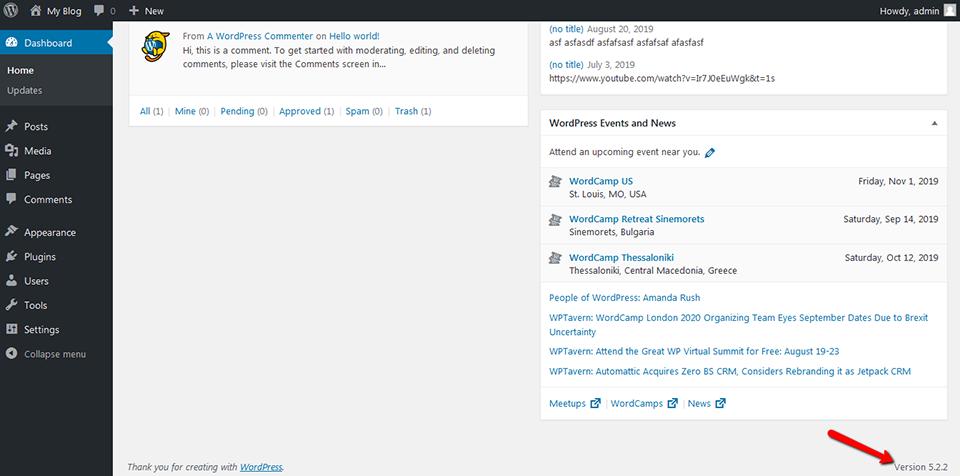 Tìm hiểu phiên bản WordPress trong khu vực quản trị