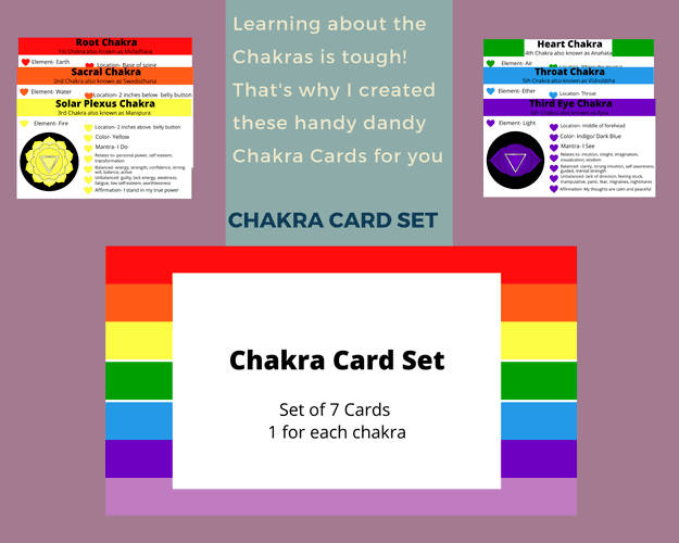 Cheat Cards for the chakras