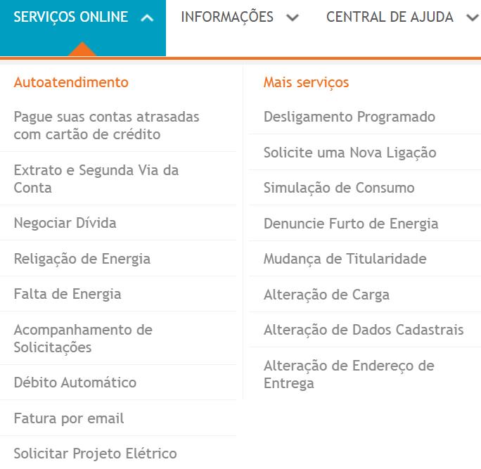 serviços online disponíveis no portal energisa