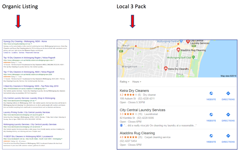 Google localised results vs Google local pack