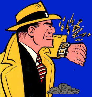 Dick Tracey sports the perfect futurist's sidekick, the smart wristwatch.