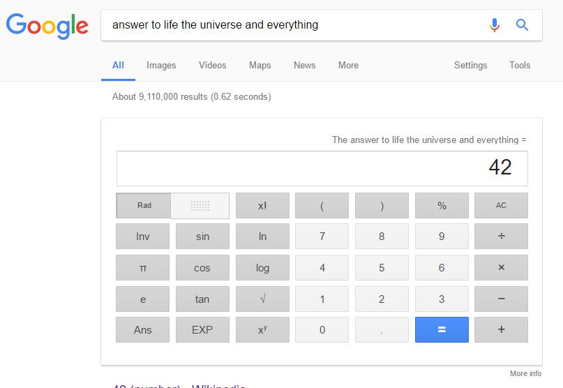 google tricks, answer to life