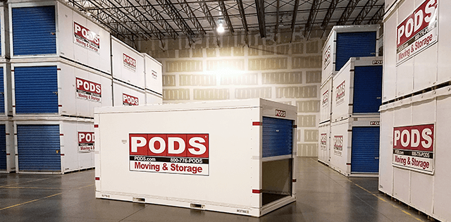 PODS storage containers in a storage facility
