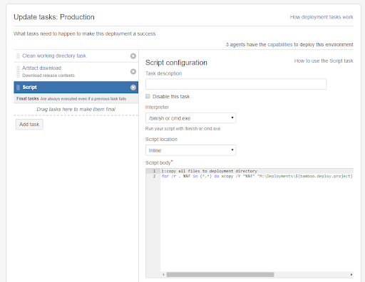 Atlassian Bamboo deployment system configuration screenshot showing script configuration.