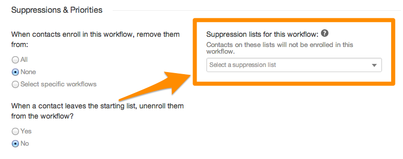 workflow suppression list