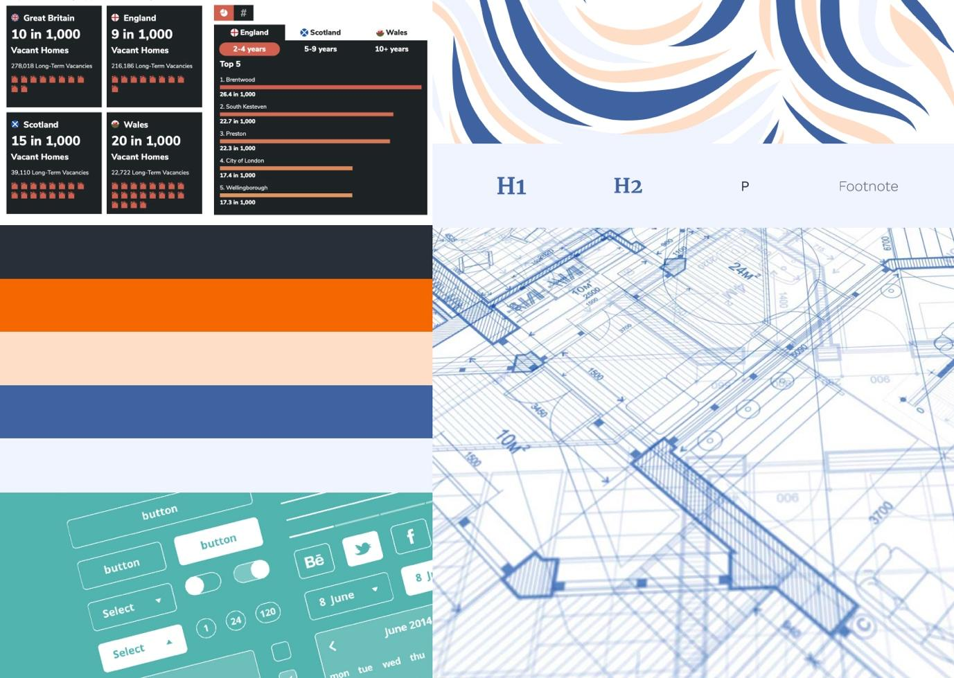 A digital mood board with swirling colours, blue prints, and snippets of tables and charts.