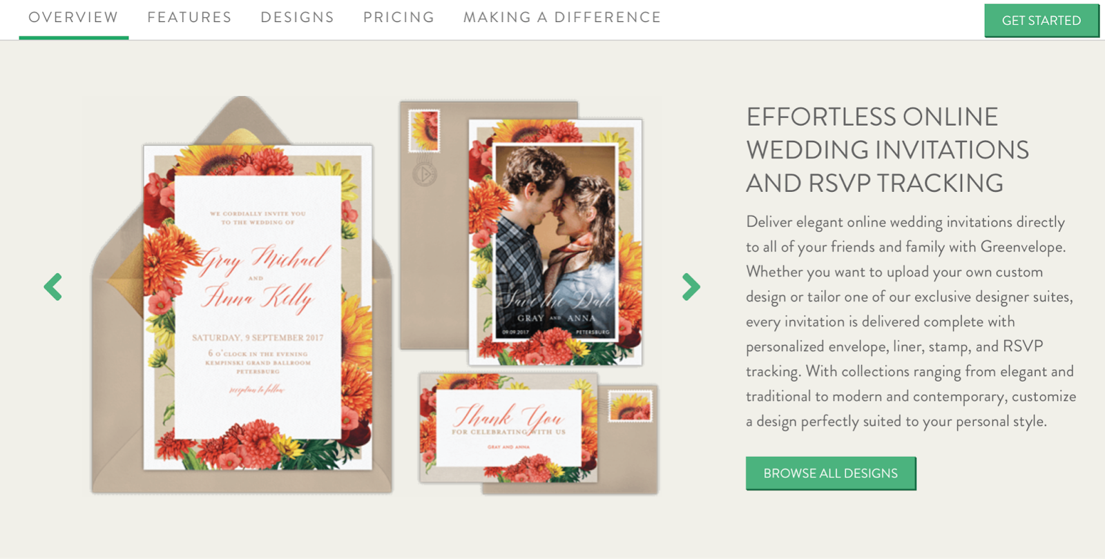 Photo of online wedding invitation suite from GreenVelope