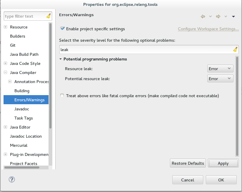 Enable Leak detection in eclipse