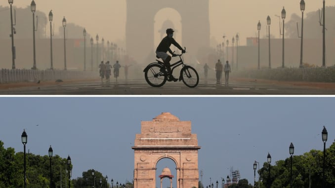 A combo shows the India Gate war memorial on October 17, 2019 and after air pollution level started to drop during a 21-day nationwide lockdown to slow the spreading of Coronavirus disease (COVID-19), in New Delhi, India, April 8, 2020.