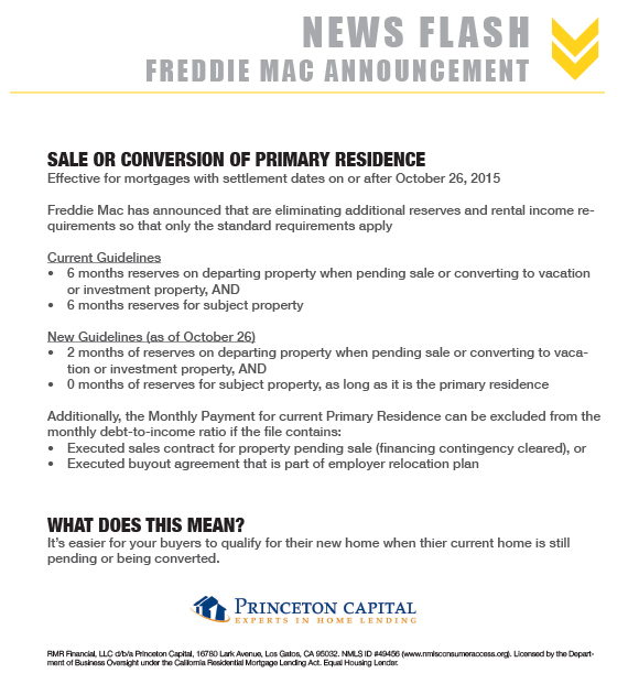 Freddie Mac Announcement of New Guidelines