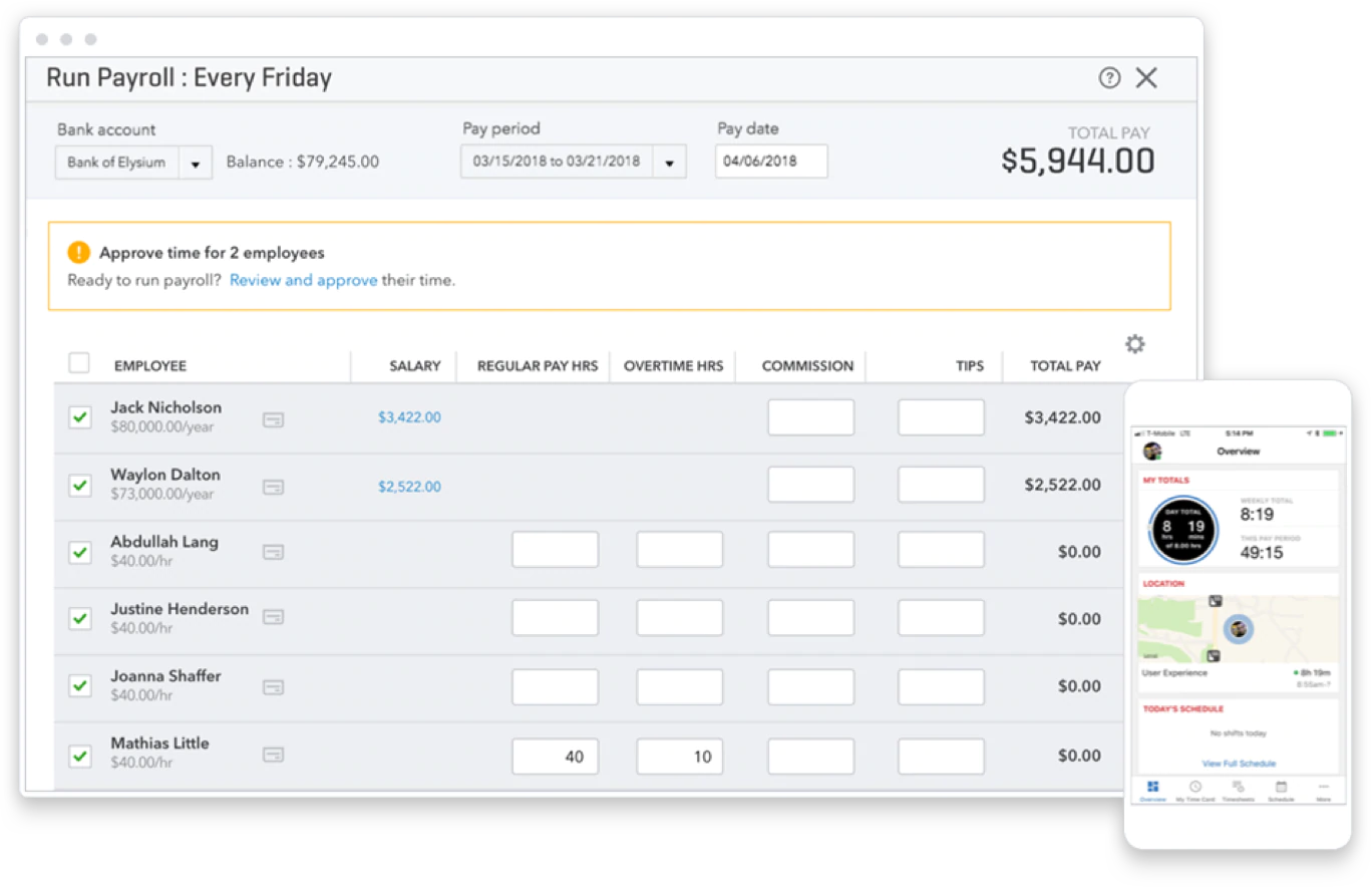 Quickbook Online payroll : paychecks