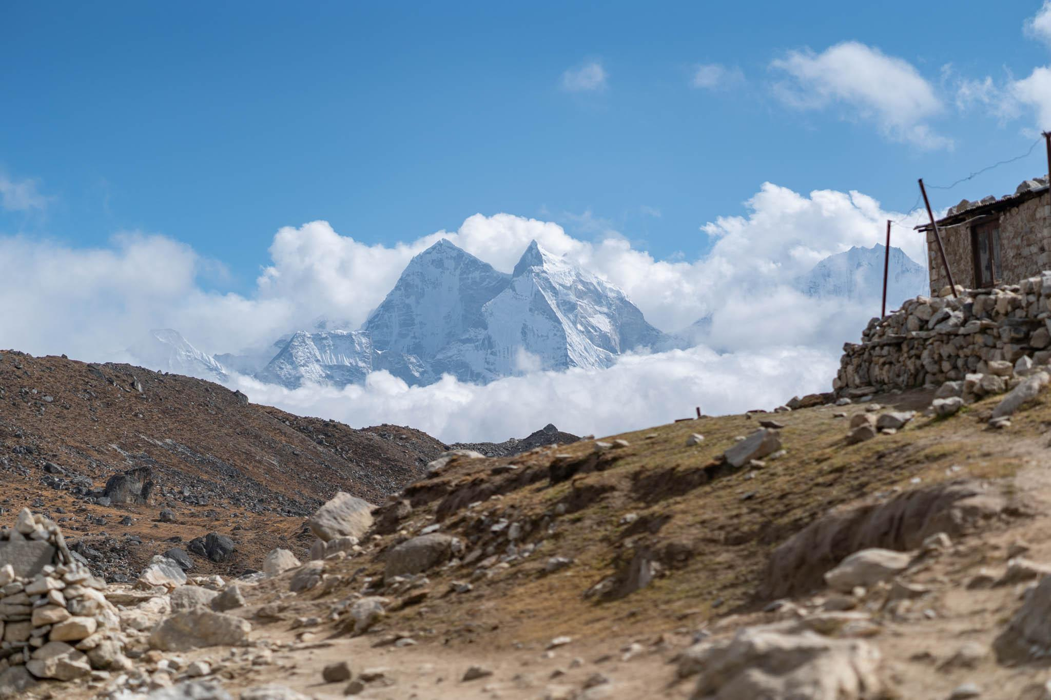 A panorama of a view from the Everest Base Camp trek