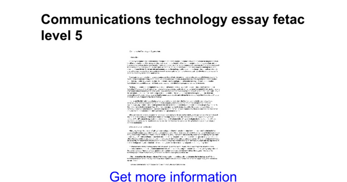Communications technology essay fetac level 5 - Google Docs