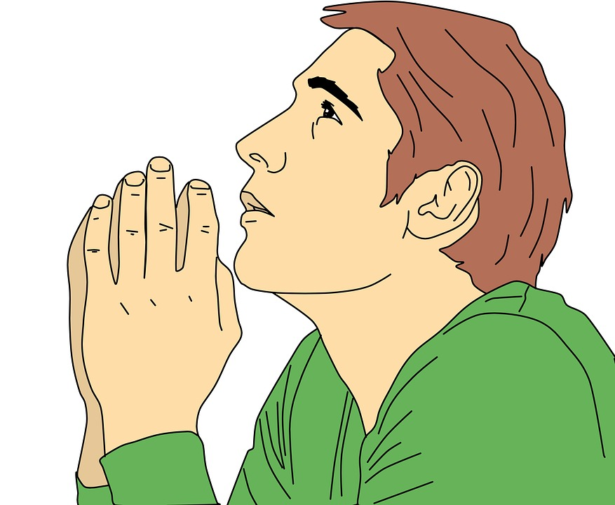 a vector illustration of a man praying to promote his blog
