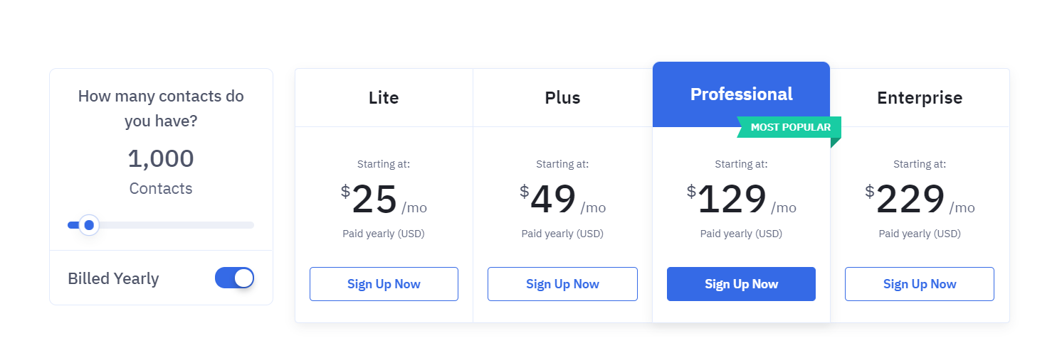 ActiveCampaign's pricing plans