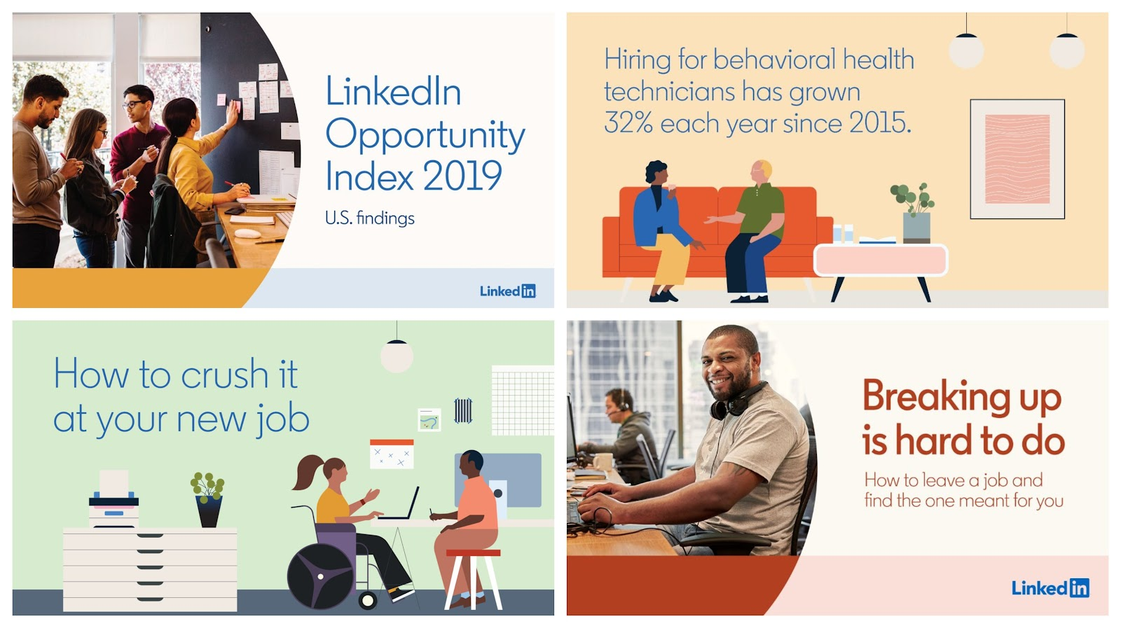 Graphic Design for Instagram tip - use muted color palettes over bold type. example - linkedin ads